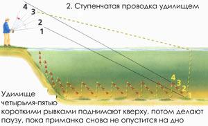 Ловля на джиг - Ступенчатая проводка